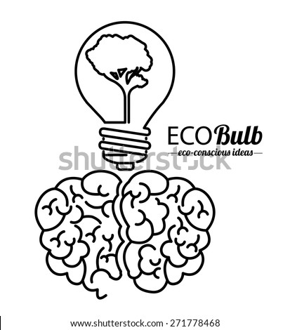 Think green design over white background, vector illustration  - stock vector