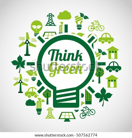 think green ecology icons vector illustration design
