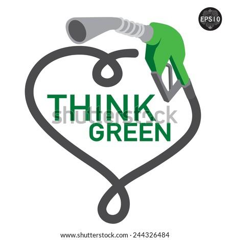 Think green gas pump nozzle . Vector, EPS10 - stock vector