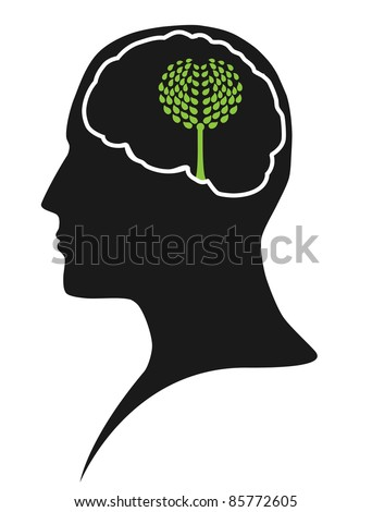 Think green – human mind - stock vector