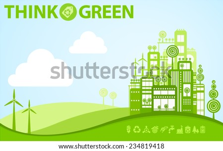Think green illustration of idealistic natural biological city - stock vector