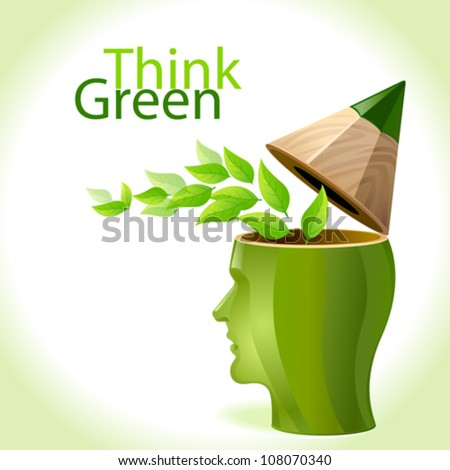 Think Green - Pencil Man - stock vector
