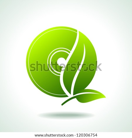 Think Green.Plant of Technology on White - stock vector
