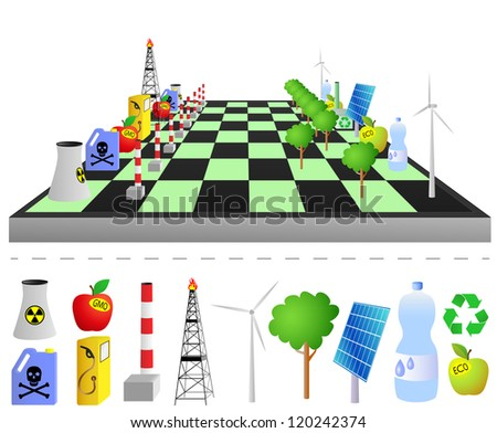 Think green - play green. Concept of symbolic chess play - ecological vs dangerous for environment. - stock vector