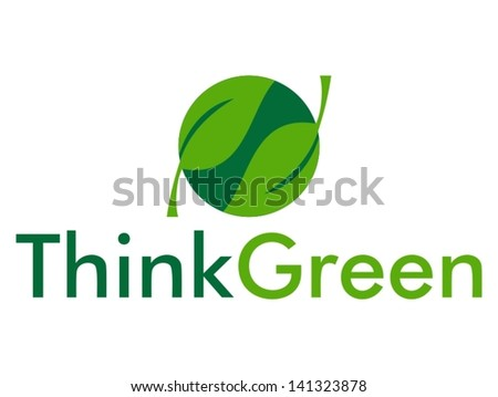 Think Green with leaves - stock vector