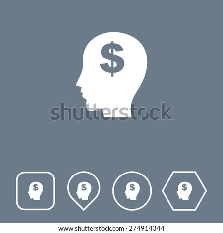 Think Money Icon on Flat UI Colors with Different Shapes. Eps-10. - stock vector