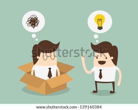 think out side the box - stock vector