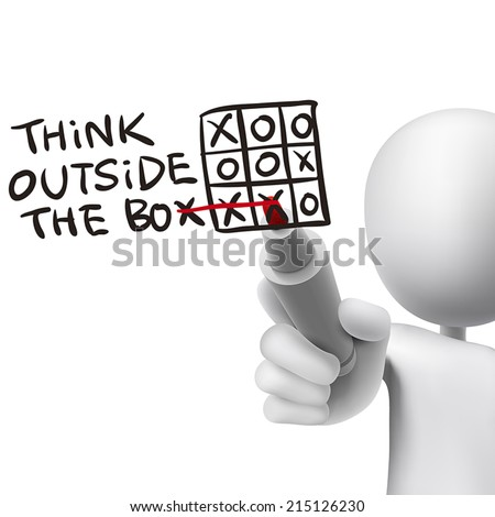 think outside the box words written by 3d man over white  - stock vector