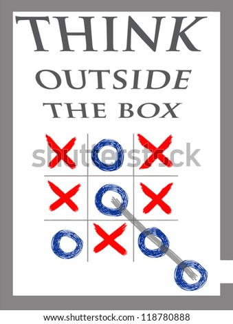 think outside the box, X-O game, - stock vector