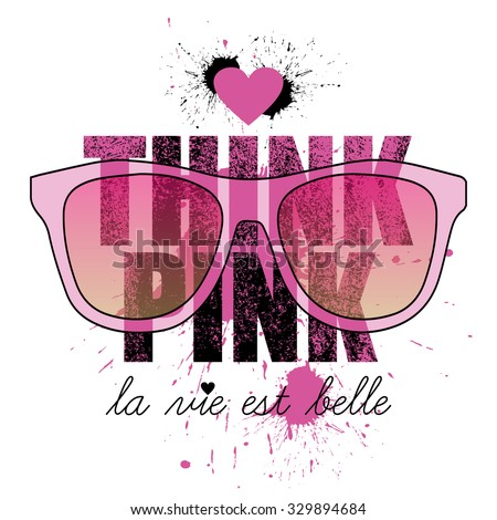 think pink, quote design, t-shirt print - stock vector