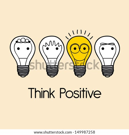 think positive over pink  background vector illustration - stock vector