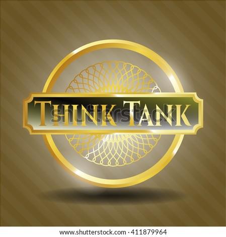Think Tank golden badge or emblem - stock vector