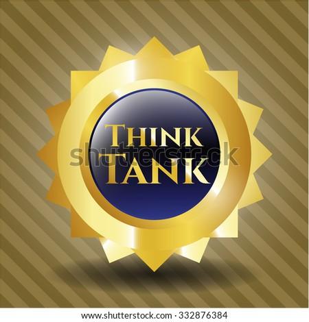 Think Tank golden emblem or badge - stock vector