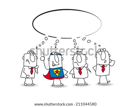 think tank with a superhero. this teamwork thinks about a lot of ideas with a super businessman - stock vector