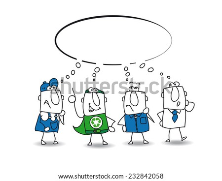 think tank with Super Recycling Hero. This business team thinks about a lot of ideas with Joe, the super recycling man. They want to find a solution for recycling the wastes of their factory.  - stock vector