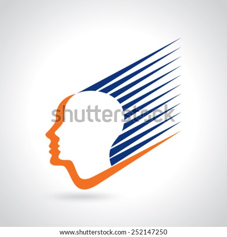 think Thoughts and options. vector illustration of head - stock vector