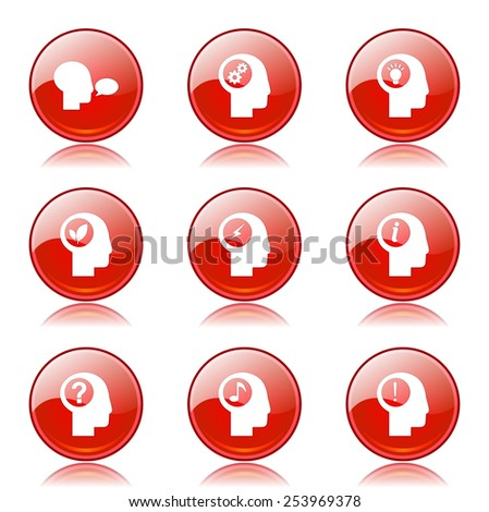 Think Web Internet Red Vector Button Icon Design Set