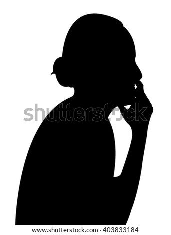 thinker lady silhouette vector