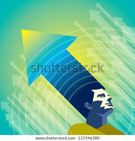 thinking a man for grow business - stock vector