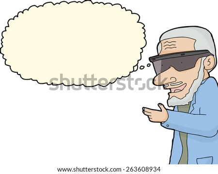 Thinking bearded man with virtual reality device - stock vector