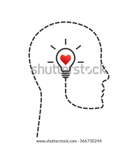 Thinking, good morale and inspiration concept. Face profile and lightbulb as idea symbol with heart inside. - stock vector