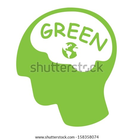 thinking green concept, green silhouette head with word green and earth  - stock vector