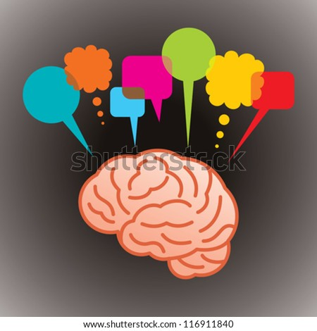 thinking head speech bubble, social networking - stock vector