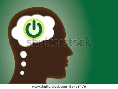 Thinking Head With a Power on and off button in thought bubble. - stock vector