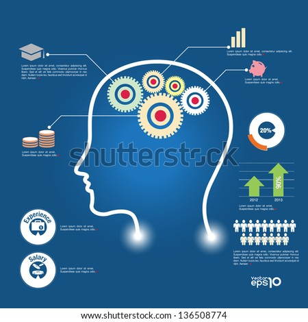 Thinking info-graphic head, symbol vector format - stock vector