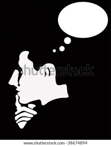 thinking man - stock vector