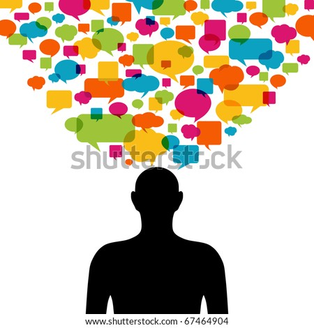 Thinking man silhouette with thought colorful bubbles - stock vector