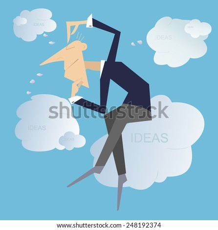 Thinking man sitting on the clouds creates new ideas   - stock vector