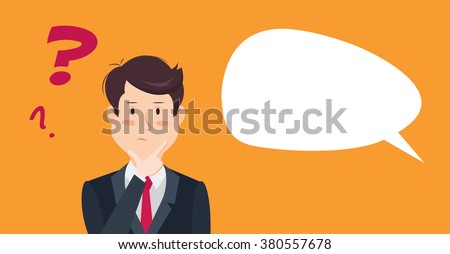 Thinking man with question mark. Cartoon vector illustration of businessman wondering and doubting. Eps 8 - stock vector