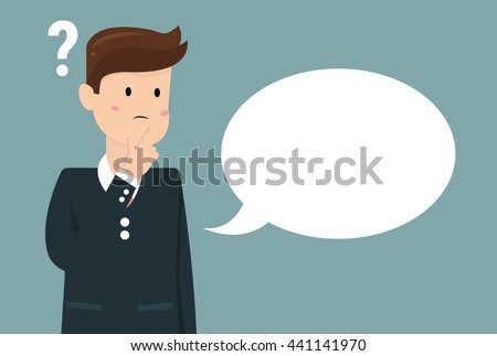 Thinking man with question mark. Cartoon vector illustration of businessman wondering and doubting. Eps 10. - stock vector
