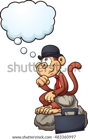 Thinking monkey sitting on a rock. Vector clip art illustration with simple gradients. Monkey, rock, briefcase and thought bubble on separate layers.