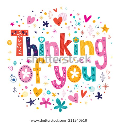 Thinking of you typography lettering card - stock vector