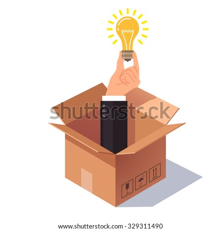 Thinking out of the box concept. Hand in business suit sticking from cardboard packing and holding lightbulb symbolizing new idea. Flat style vector illustration isolated on white background. - stock vector