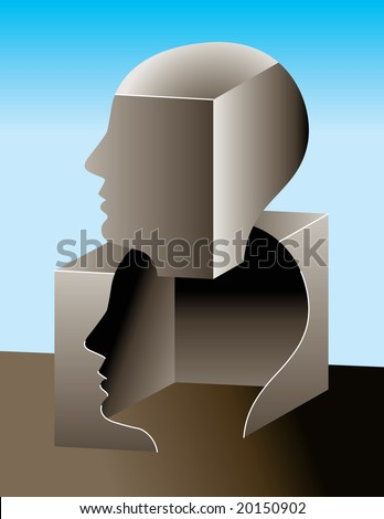 Thinking outside of the box - stock vector