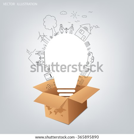 Thinking outside the box concept, Opened cardboard box with light bulb. Light bulb idea, creative drawing ecological concepts. With happy family stories. Vector illustration - stock vector