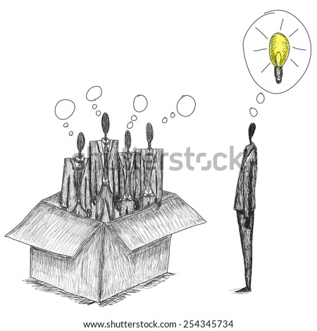 Thinking outside the box Doodle style, hand drawn conceptual business image of people thinking in the box and one independent thinker coming up with an idea outside of the box. - stock vector