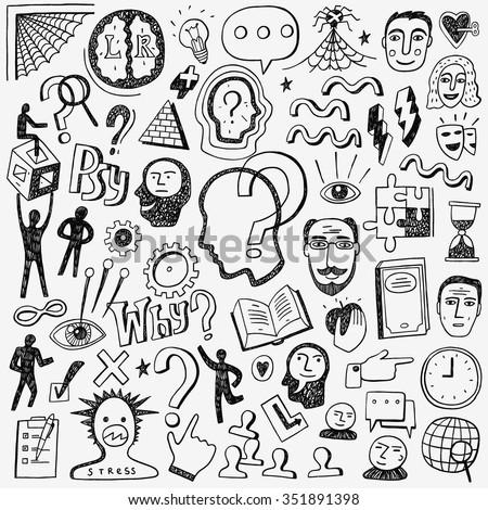 Thinking , psychology - doodles set - stock vector