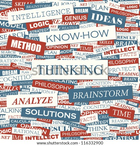 THINKING. Seamless vector pattern. Word collage. Vector illustration.