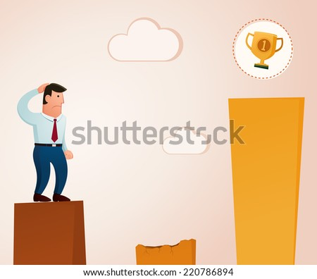 thinking to get a trophy in the top level - stock vector