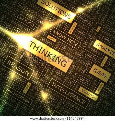 THINKING. Vector creative background. - stock vector