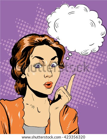 Thinking woman with speech bubble. Vector illustration in retro pop art comic style. - stock vector