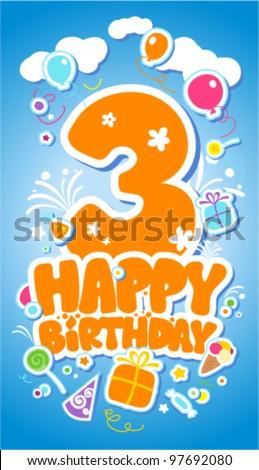 Third Birthday card. - stock vector