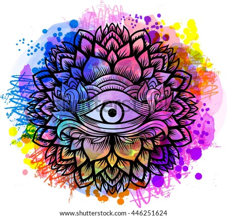 Third eye with floral mandala zentangle hand drawing line art Boho chic style.  - stock vector