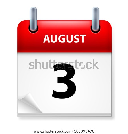 Third in August Calendar icon on white background - stock vector