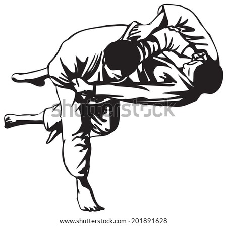 Third Judo fight stage four - stock vector