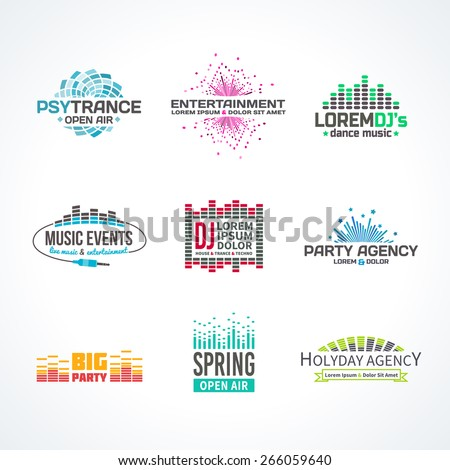 Third music equalizer emblem elements set separated - stock vector